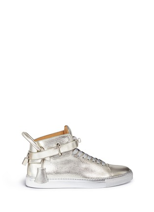 Main View - Click To Enlarge - Buscemi Shoes - '100MM' twist lock strap leather mid top sneakers