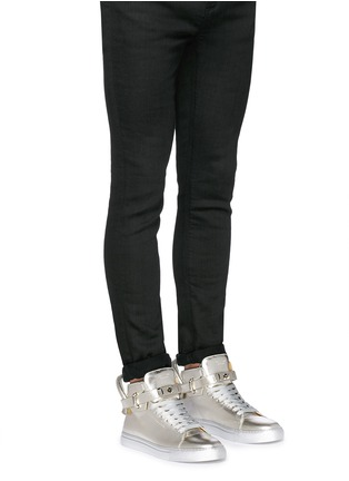 Figure View - Click To Enlarge - Buscemi Shoes - '100MM' twist lock strap leather mid top sneakers