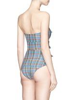 'Triple Poppy' bow front strapless seersucker swimsuit