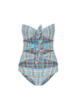 Main View - Click To Enlarge - Lisa Marie Fernandez - 'Triple Poppy' bow front strapless seersucker swimsuit