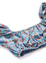 'Leandra' plaid off-shoulder seersucker bubble bikini set