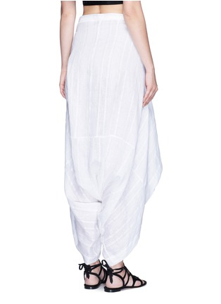 Back View - Click To Enlarge - Lisa Marie Fernandez - Tie front stripe cotton-linen voile cropped pants
