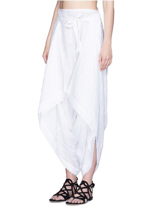 Front View - Click To Enlarge - Lisa Marie Fernandez - Tie front stripe cotton-linen voile cropped pants