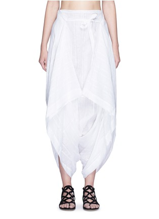Main View - Click To Enlarge - Lisa Marie Fernandez - Tie front stripe cotton-linen voile cropped pants