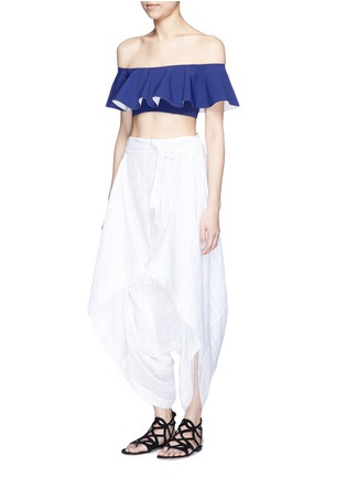 Figure View - Click To Enlarge - Lisa Marie Fernandez - Tie front stripe cotton-linen voile cropped pants