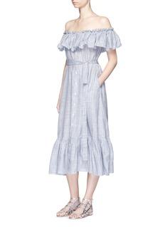 LISA MARIE FERNANDEZ'Mira' button down off-shoulder flounce dress