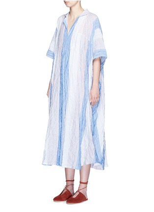 Front View - Click To Enlarge - Lisa Marie Fernandez - Stripe crinkle maxi shirt kaftan