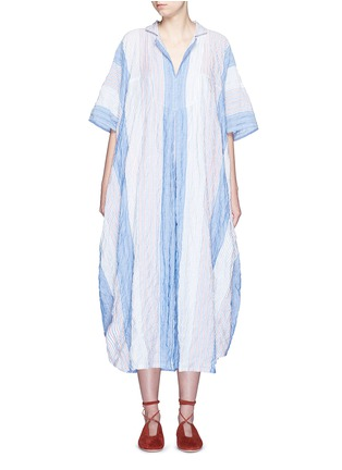 Main View - Click To Enlarge - Lisa Marie Fernandez - Stripe crinkle maxi shirt kaftan