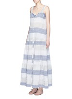 Button down stripe crinkle tiered maxi dress