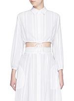 Drawstring waist stripe cotton-linen cropped bubble blouse