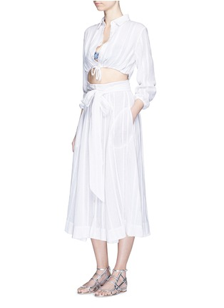 Figure View - Click To Enlarge - Lisa Marie Fernandez - Drawstring waist stripe cotton-linen cropped bubble blouse