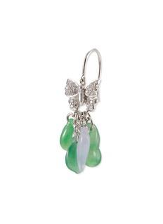 Samuel Kung Diamond jade 18k white gold butterfly drop earrings