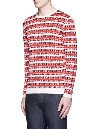 Front View - Click To Enlarge - Maison Kitsuné - Pixelated stripe jacquard sweater