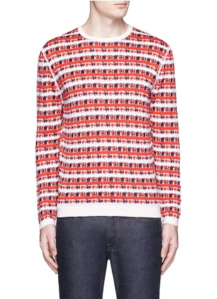 Main View - Click To Enlarge - Maison Kitsuné - Pixelated stripe jacquard sweater