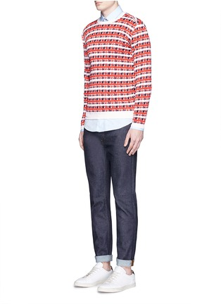Figure View - Click To Enlarge - Maison Kitsuné - Pixelated stripe jacquard sweater