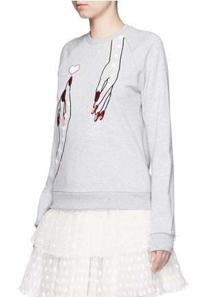 Front View - Click To Enlarge - Giamba - Sequin hand embroidery cotton sweatshirt