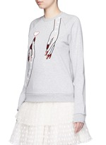 Sequin hand embroidery cotton sweatshirt