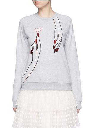 Main View - Click To Enlarge - Giamba - Sequin hand embroidery cotton sweatshirt
