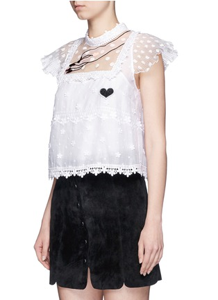 Front View - Click To Enlarge - Giamba - Hand embroidery guipure floral lace top