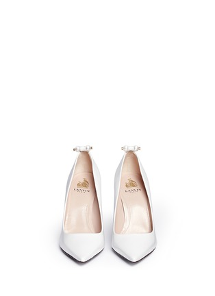 Front View - Click To Enlarge - Lanvin - Faux pearl Spazzolato leather pumps