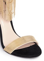 Curb chain fringe suede sandals
