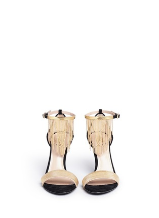 Front View - Click To Enlarge - Lanvin - Curb chain fringe suede sandals