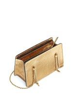 Metallic lizard leather chain boxy shoulder bag