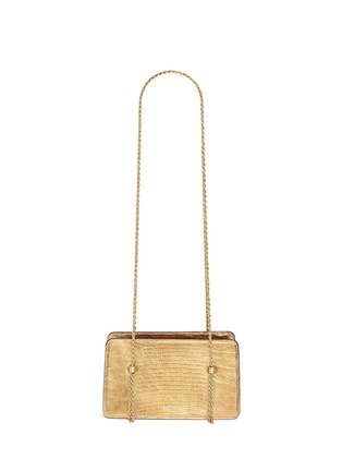 Back View - Click To Enlarge - Lanvin - Metallic lizard leather chain boxy shoulder bag