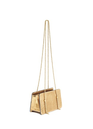 Figure View - Click To Enlarge - Lanvin - Metallic lizard leather chain boxy shoulder bag