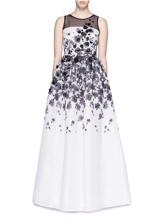 Detail View - Click To Enlarge - ST. JOHN - Floral print appliqué silk organza flare gown
