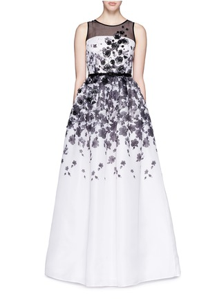 Main View - Click To Enlarge - ST. JOHN - Floral print appliqué silk organza flare gown