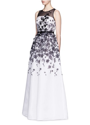 Figure View - Click To Enlarge - ST. JOHN - Floral print appliqué silk organza flare gown