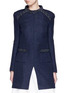 ST. JOHNPearl embellished shimmer tweed knit jacket