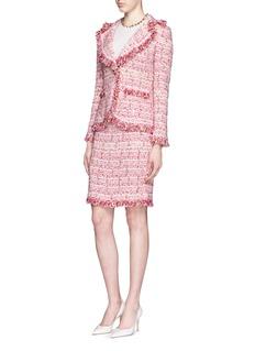 ST. JOHN'Bridgette' fringe ribbon tweed knit skirt