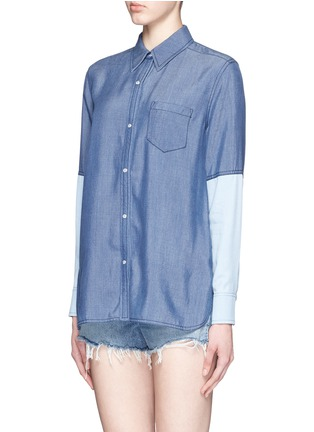 Front View - Click To Enlarge - Vince - Colourblock chambray shirt