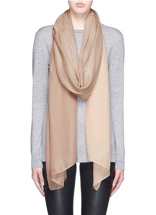 Figure View - Click To Enlarge - Janavi - Silk chiffon panel cashmere scarf