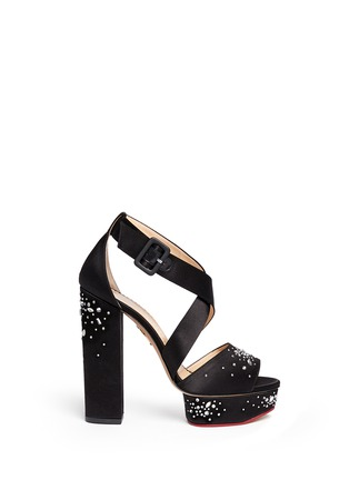 Main View - Click To Enlarge - Charlotte Olympia - 'Edna' rhinestone silk satin platform sandals