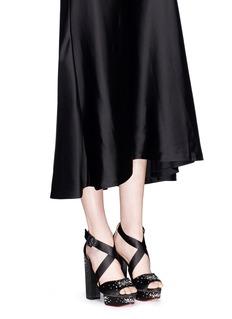 CHARLOTTE OLYMPIA'Edna' rhinestone silk satin platform sandals