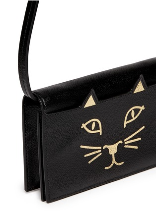Detail View - Click To Enlarge - Charlotte Olympia - 'Feline' leather crossbody bag