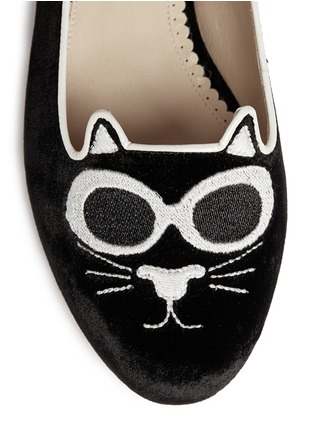 Detail View - Click To Enlarge - Charlotte Olympia - 'Grunge Kitty' velvet flats