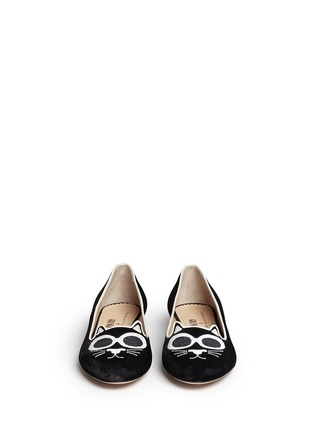 Front View - Click To Enlarge - Charlotte Olympia - 'Grunge Kitty' velvet flats
