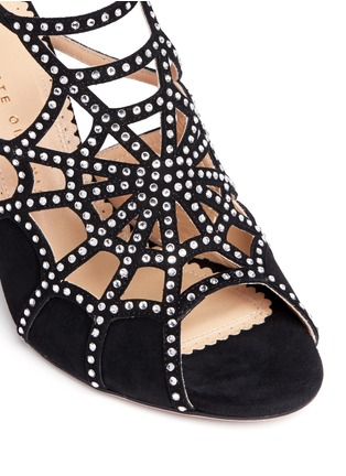 Detail View - Click To Enlarge - Charlotte Olympia - 'Lotte' Charlotte's web strass suede sandals