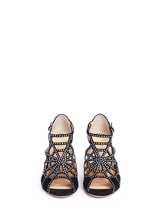 Front View - Click To Enlarge - Charlotte Olympia - 'Lotte' Charlotte's web strass suede sandals