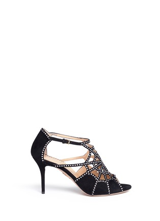 Main View - Click To Enlarge - Charlotte Olympia - 'Lotte' Charlotte's web strass suede sandals