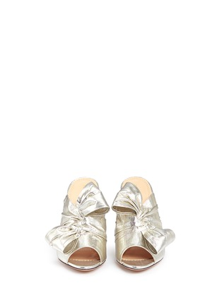Front View - Click To Enlarge - Charlotte Olympia - 'Ilona' knot lamé mule sandals