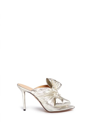 Main View - Click To Enlarge - Charlotte Olympia - 'Ilona' knot lamé mule sandals