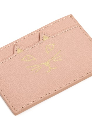 Detail View - Click To Enlarge - Charlotte Olympia - 'Feline' cat face leather card holder
