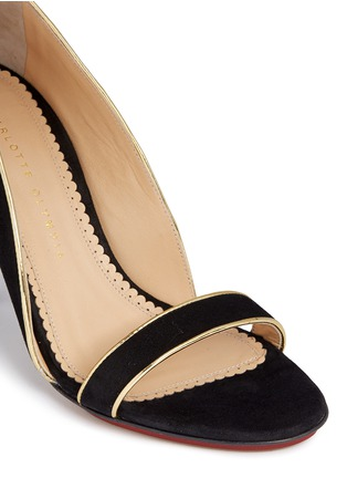 Detail View - Click To Enlarge - Charlotte Olympia - 'Christine 95' suede d'Orsay sandals
