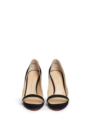 Front View - Click To Enlarge - Charlotte Olympia - 'Christine 95' suede d'Orsay sandals