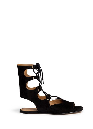 Main View - Click To Enlarge - Chloé - 'Lettonia' lace-up suede gladiator sandals